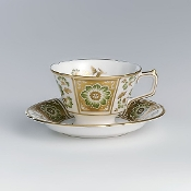 Royal Crown Derby Derby Panel Green Cup and Saucer