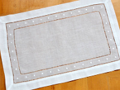 Embroidered Placemat with Dotted Border, White