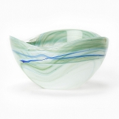 Alabaster Glass Aquamarine Cereal Bowl