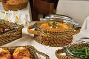 Rattan Round Casserole with Cover