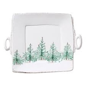 Vietri Lastra Holiday Handled Square Platter
